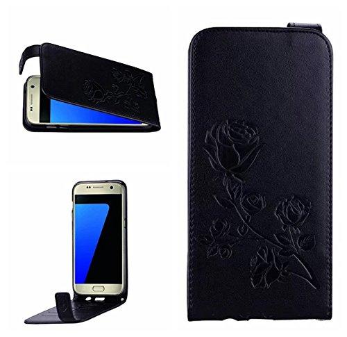 YHUISEN Galaxy S7 Edge Caso, en relieve Rose flor patrón vertical Flip caja de cuero con ranura para tarjeta de Samsung Galaxy S7 Edge ( Color : Gold ) Black