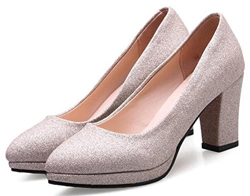 Pumps Sexy Shoes Womens Slip On High Easemax Gold Heels Sequins Chunky ZTn7AqS