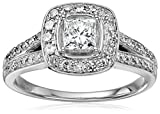 14k White Gold Princess Cut Diamond Halo Frame Engagement Ring (1cttw, H-I Color, I1-I2 Clarity), Size 7