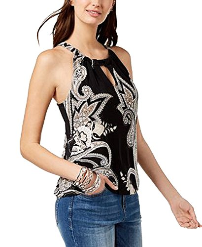 INC International Concepts Keyhole Halter Top (Black Paragon Paisley, XXL)