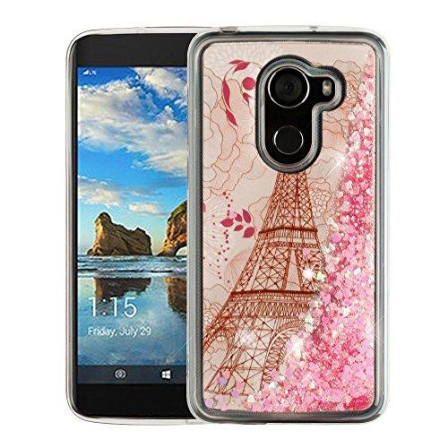 T-Mobile Alcatel REVVL Case - Liquid Quicksand Glitter Waterfall Protective TPU Gel Cover - (Eiffel Tower) and Atom LED for T-Mobile Alcatel - Tower Water T Mobile