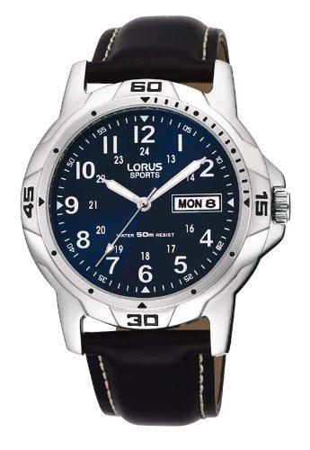Lorus RXN51BX9 - Reloj analógico de caballero de cuarzo con correa de piel marrón