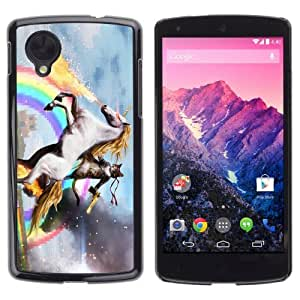YOYOSHOP [Funny Cat, Unicorn, Rainbow LOL MEME WTF] LG Google Nexus 5 Case