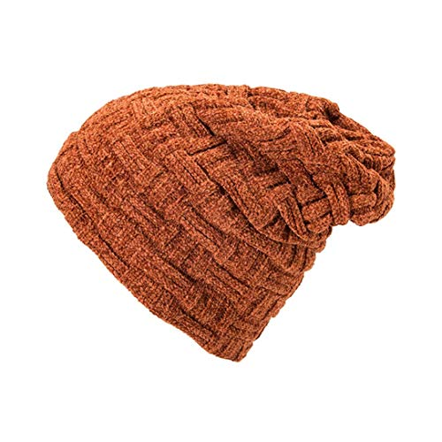 Apolonia Women's Thermal Chenille Thick Knit Pullover Cap Solid Ear Protector Slouchy Hat Outdoor for Youth Girls Orange