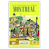 Visit Historical and Gay - Montreal, Canada - Vintage World Travel Poster by Roger Couillard c.1955 - Master Art Print - 13in x 19in