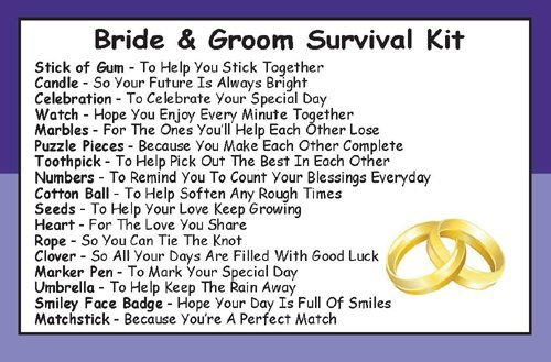 bride groom survival kit in a can humorous novelty gift wedding