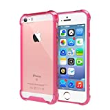 clear back bumper iphone 5s - [Crystal Clear] iPhone 5 / 5s / SE Case, iXCC Cover Case [Shock Absorption] with Transparent Hard Plastic Back Plate and Soft TPU Gel Bumper - Pink