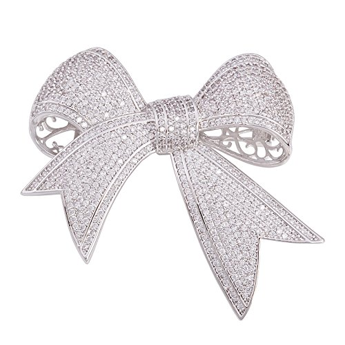 (OBONNIE Elegant Silver Tone Micro Pave Cubic Zirconia Love Knot Bow Wedding Bride Mother Brooch Pin)
