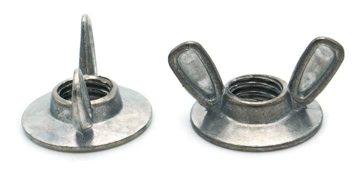 Flanged Wing Nuts Washer Base Wing Nuts Die Cast Zamak 3 Zinc Alloy - Sizes #8-32 Through 3/8''-16-3/8''-16 Qty 1000