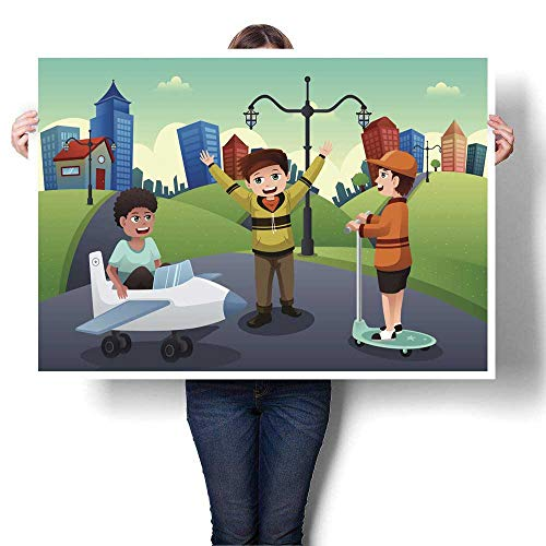 MartinDecor Canvas Prints Wall Art Kids Playing in The Street of a Suburban Neighborhood Decorative Fine Art Canvas Print Poster K 20