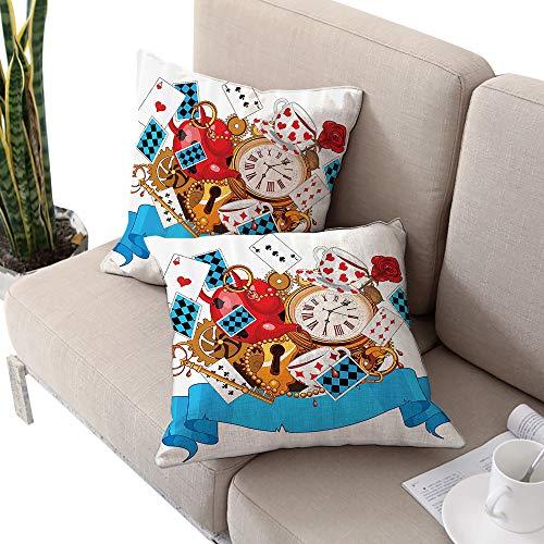 Alice in Wonderland Decorations Square pillowcase ,Mad Design of Cards Clocks Tea Pots Keys Flowers Fantasy World Illustration Multi W18