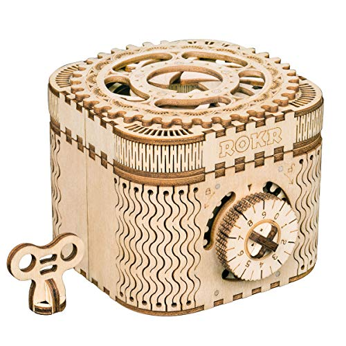 RoWood Mechanical Gear Treasure Box - 3D Wooden Puzzle Craft Toy, Brain Teaser DIY Model Building Kits, Gift for Adults & Teens, Age 14+