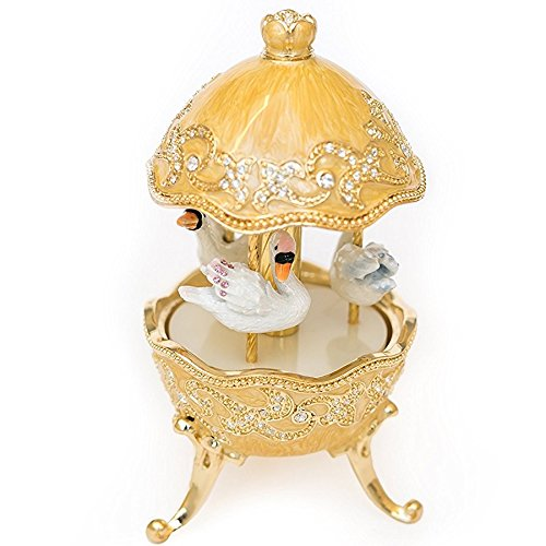 Keren Kopal Yellow Wind up Musical Carousel with White Swans Music Box Faberge-Style for Collectors