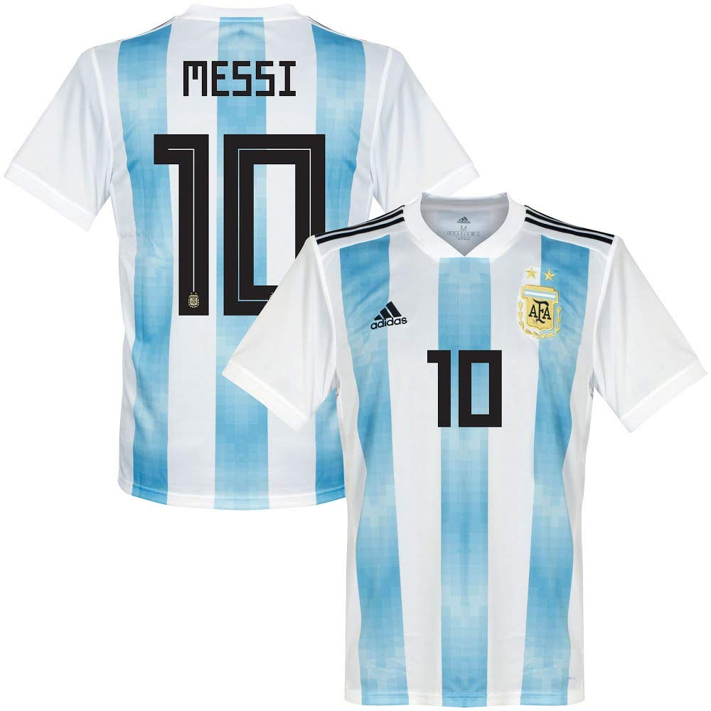 80fcae2f3 Amazon.com : adidas Argentina Home Messi Jersey 2018/2019 (Official  Printing) : Sports & Outdoors