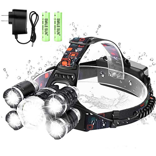 Headlamp Flashlight, Rechargeable Lamps Headlight Ultra Bright 5 LED Head Lamp with Rechargeable Batteries, 4 Modes Waterproof Zoomable Work Lights for Camping, Outdoor, Hard Hat