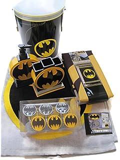 Batman Bathroom Bundle/Set: Bath Towel, Shower Curtain, Hooks, Waste Can