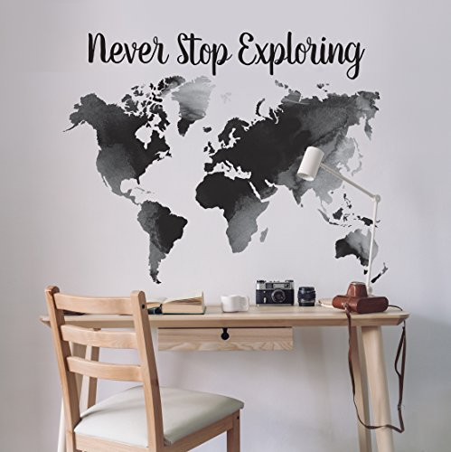 Better Than Paint   Black Watercolor Map & Phrases Set   Wall Art Transfers   Fast & -