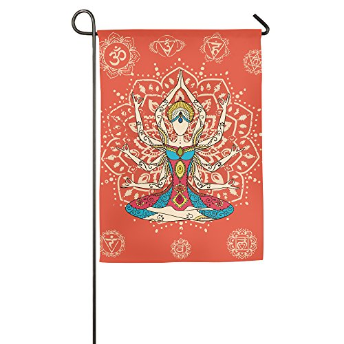 Decorative Garden Flag Yoga Body Artprint Outdoor Yard Lucky Flag (Wine God Costume)