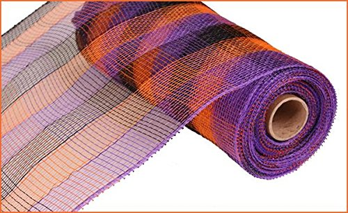 10 Inch x 30 Feet Deco Poly Mesh Ribbon - Orange Purple Black Small Plaid : RE1330F2 -