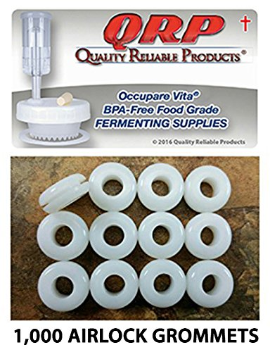 QRP Plastic Lid Airlock GROMMETS 1/16'' Groove White Food Grade Silicone for fermenting in Mason Jars (1000) by Quality Reliable Products