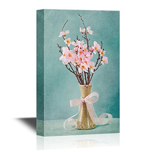 - wall26 - Flowers and Vase Canvas Wall Art - Spring Cherry Blossoms in a Porcelain Vase - Gallery Wrap Modern Home Decor | Ready to Hang - 16x24 inches