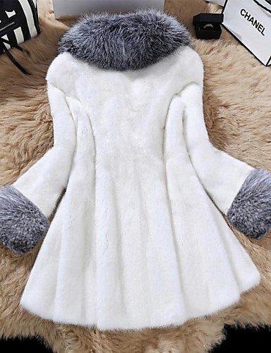Mujer Simple Casual/Diario Un Color Abrigo de Piel Manga Larga Invierno Piel Sintética Blanco / Negro Grueso, one-size: Amazon.es: Ropa y accesorios