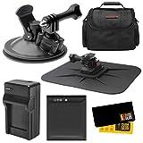 Essentials Bundle for Kodak PixPro SP360, SP360 4k, Orbit360 4K Action Camera with Car Suction Cup & Dashboard Mounts + LB-080 Battery + Charger + Case + Kit