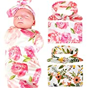 Newborn Baby Swaddle Blanket and Headband Value Set,Receiving Blankets(orange and pink)
