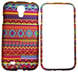 IMAGITOUCH® For Samsung Galaxy S4 i9500 Rubberized 2D Design Aztec Indian Tribal Stripes Pattern Hard Case Shell Cover Phone Protector Faceplate