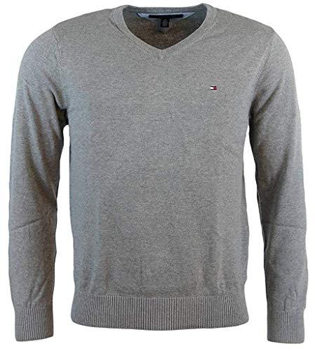 Tommy Hilfigher Mens Cotton Cashmere Signature Solid V-Neck Sweater, Medium Grey ()