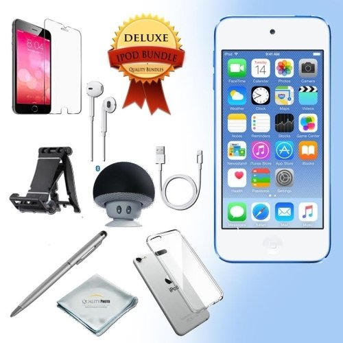 Apple iPod Touch 6th generation Music player, 16GB -BLUE- w/ iTouch Accessory Kit includes; Bluetooth Speaker + Clear Case & Screen Protector + ipod 5-Angle Adjustable Stand + iPod Stylus Pen + Cloth