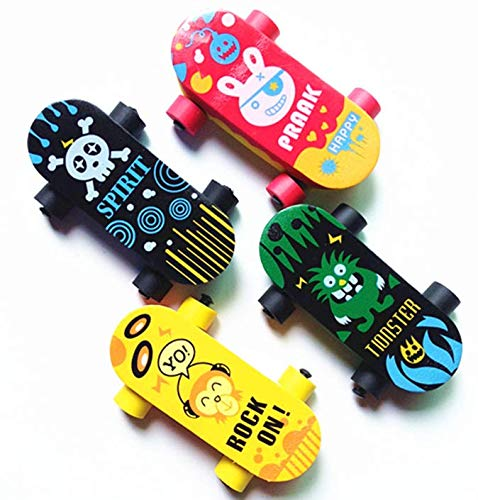 (YChoice Well-Made 4 Pcs Fashion Skateboard Eraser Cartoon Scooter Erasers Set(Random Color))