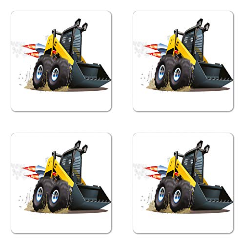 Lunarable Nursery Coaster Set of Four, Cool Construction Vehicle Cartoon Bulldozer Skid Steer Nitro Speed Off Road, Square Hardboard Gloss Coasters for Drinks, Yellow and Black ()
