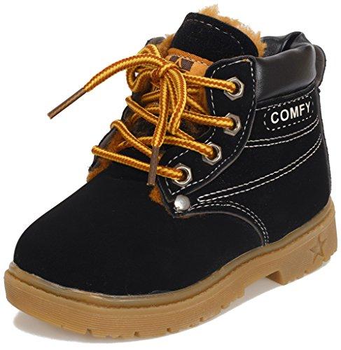 Toddler Boy Dress Boots (Doris Kids Waterproof Lace Up Boots Baby Boy Girl Hiking Snow Boots 5.5 M US Toddler Fur Black)