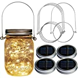 Homeleo 4 Pack Wide Mouth Mason Jar Solar LED Lights Insert Screw w/Hangers, Warm White Waterproof Solar Fairy Lights for Outdoor Garden Decor Christmas Holiday Wedding Party(Jars NOT Included)