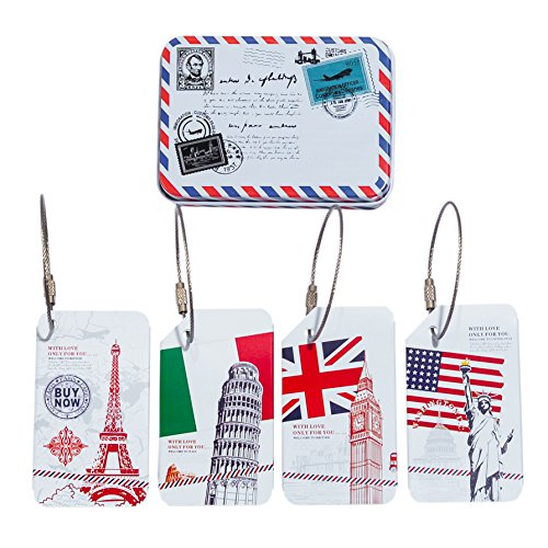 e Tags Metal Suitcase Handle Hidden Individuality Travel Luggage Tags & Vintage Metal Storage Box Statue Of Liberty Eiffel Torre Di Pisa Clock Tower (Tin Box Statue)