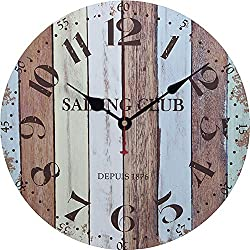 Vintage Retro Wooden Wall Clock, 3D Numbers Display Silent Non Ticking Hanging Clock, Antique Rustic Colorful Tuscan Country Style Decorative-n 12inch