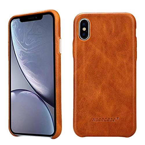 Protective Slip Anti Cover (JISON21 iPhone Xs MAX Genuine Leather Case, Slim Vintage Anti-Slip Shell Cover with Protective Metallic Side Buttons (Brown))