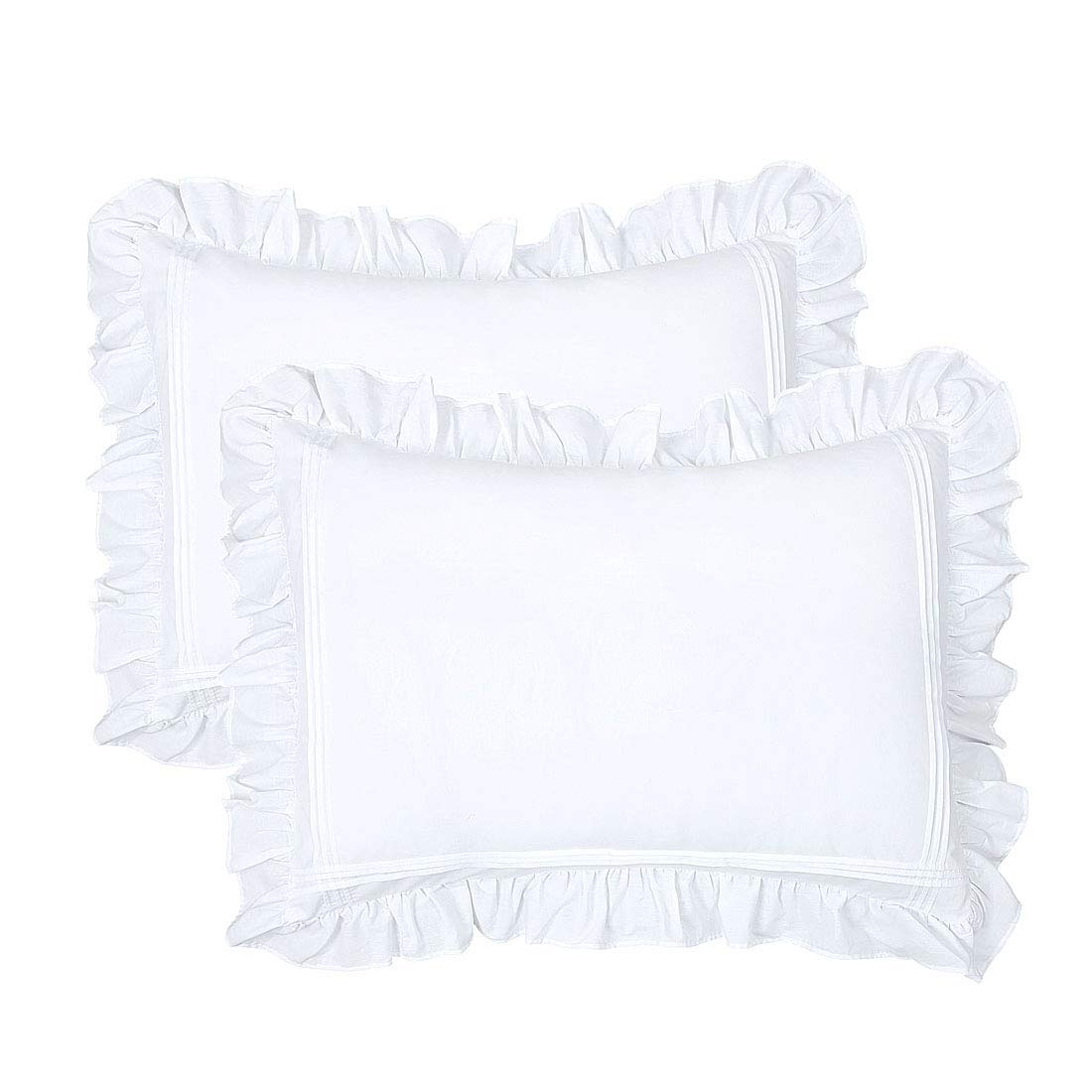 Ruffled Pillow Shams Standard White Set of 2 Lace Pillowcases Shabby Chic Bright Farmhouse Victorian Country French Princess Frilly Pillow Cover Protector Pure Cotton Pintuck Pretty Cute 20x26