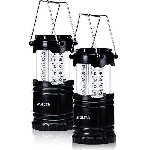 APOLLED Camping Lantern, 30-LED Collapsible Lantern with 6 AA Batteries, Survival Kit for Outdoor Camping, Emergency, Hurricane, Power Outage (Black, 2 Pack) by APOLLED