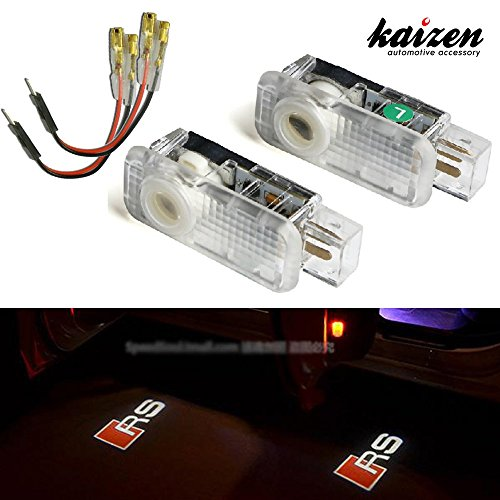 "Kaizen 2 Pcs OEM Fit Super Bright LED Laser Ghost Shadow CREE Door Step Courtesy Welcome Light Lamps For Audi A4 A6 R8 Q3 CAN-bus No Error Logo ""RS"""
