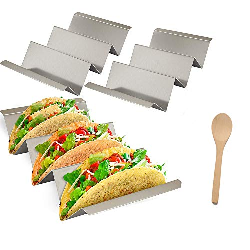Yahpetes 3 Pack Wave Shape Holders Stainless Steel Taco Holders Stand 8