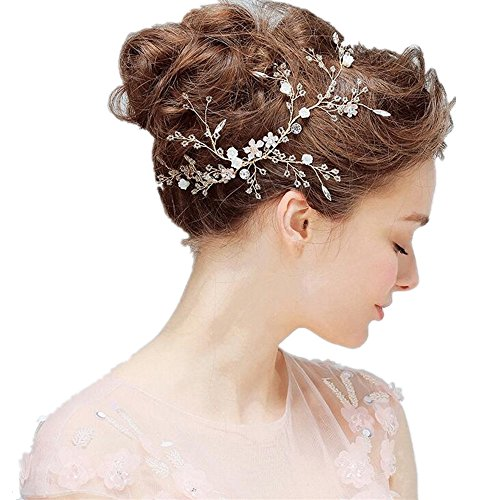 Women Wedding Bridal Hair Accessories,Handmade Crystal Pearl Flower Beaded Loop Headpieces