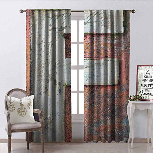 GloriaJohnson Letter F Shading Insulated Curtain Grunge Typographic Design Alphabet Printing Letterpress Theme Uppercase F Image Soundproof Shade W52 x L84 Inch Multicolor