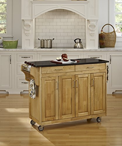 - Create-a-Cart Natural 4 Door Cabinet Kitchen Cart with Black Granite Top by Home Styles
