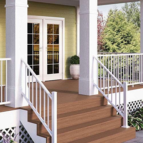 (Deckorators ALX Classic Complete Aluminum Railing Kit with Estate Balusters Textured White 6 Ft Stair Rail - Posts Not Included)