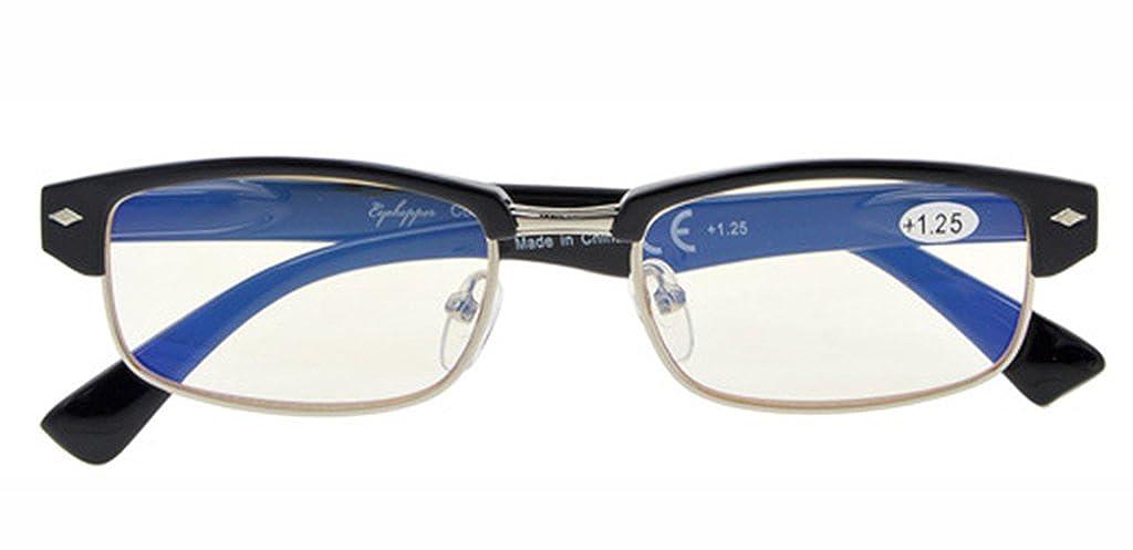 UV Protection, Anti Blue Rays, Reduce Eyestrain, Half-Rim Computer Reading Glasses Amber Tinted Lenses) +1.0 LH-CG087-Black-100