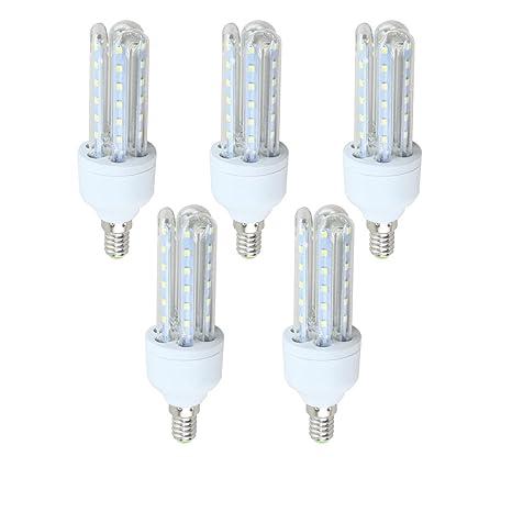 KHEBANG Bombilla LED Maíz Tres Tubos Transparentes E14 10W Luz Blanco Fría 6500K Pack de 5