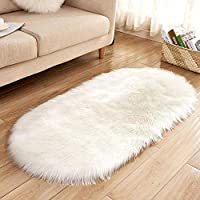 iBaste_S Faux Fur Area Rugs Fluffy Shaggy Rug Soft Contemporary Thick Indoor Carpet Nursery Rug Oval Floor Mat Bedrooms Living Room Kids Rooms Decor