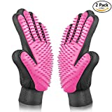 [Upgrade Version] BYETOO Pet Grooming Glove - Gentle Deshedding Brush Glove - Efficient Pet Hair Remover Mitt - Massage Tool with Enhanced Five Finger Design - Perfect for Dogs & Cats with Long & Short Fur (Pink)